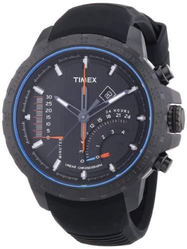 Timex Herren-Armbanduhr XL Timex IQ Linear Indicator Chrono Analog Quarz Kautschuk T2P272