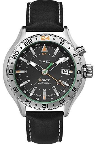 Timex-t2p452-Intelligent Quartz-Armbanduhr-Quarz Analog-Zifferblatt schwarz Armband Leder schwarz