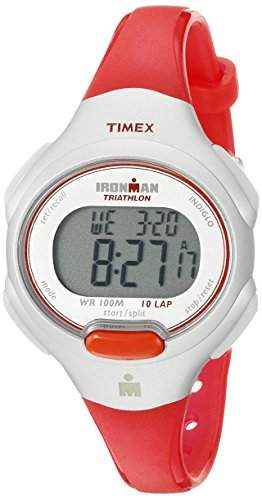 TIMEX IRONMAN 10 LAP MID SIZE WATCH BRIGHT RED SILVER