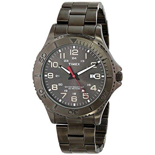 Timex Armband Edelstahl Schwarz Gehaeuse Messing Quarz Analog T2P390
