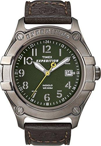 Timex 40mm Armband Leder Braun Gehaeuse Edelstahl Quarz Zifferblatt Gruen Analog T49804