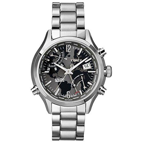 Timex Iq Worldtime Ss Black Dial Analog Quarz One Size schwarz silber