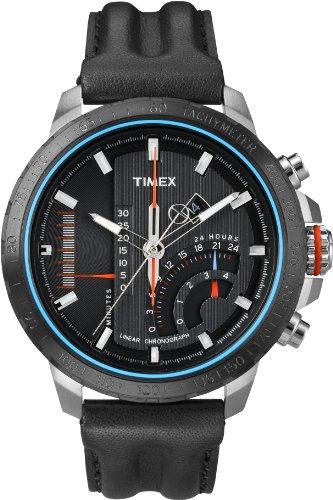 Timex t2p274d7 linear Chronograph Analog Quarz Schwarz Zifferblatt Schwarz Lederband