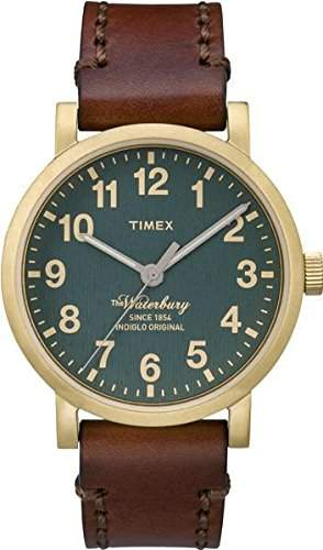 Timex Herren-Armbanduhr Analog Quarz One Size, gruen, braungruen