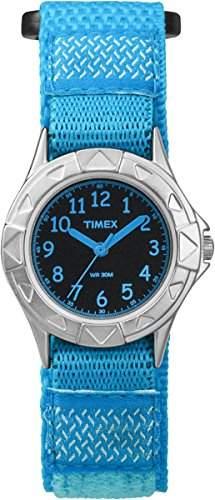 Timex TW7B99800 Kinder-Armbanduhr, Quarz, Analog, mit schwarzem Zifferblatt und blauem Armband aus Nylon
