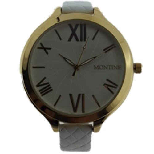 Damen Montine Armbanduhr Weiss Leder Gurt und Gold Ton Gehaeuse mow4560lsw