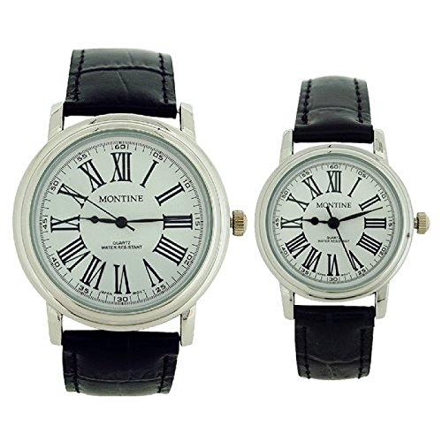 Montine Geschenkset Sie Er Uhren mit schwarzem echtem Lederband MOX3564