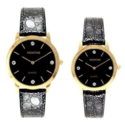 Montine Damen-herren Schwarzes Band Ziffernblatt Gold Blende Armbanduhr Set MOX0004SET
