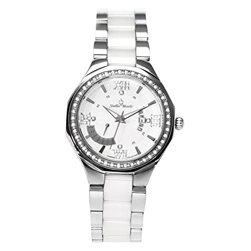 Stella Maris Weiss Analog Quarz Premium Keramik Diamanten in Weiss STM15Y1