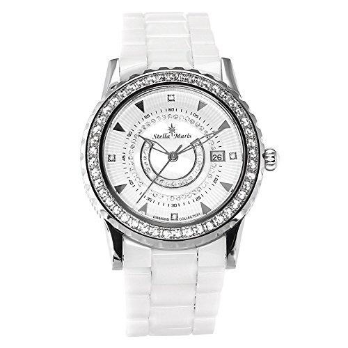 Stella Maris Weiss Analog Quarz Premium Keramik Diamanten STM15Z1