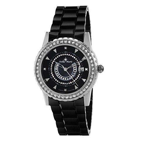 Stella Maris Schwarz Analog Quarz Premium Keramik Diamanten STM15Z2