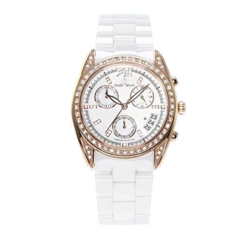 Stella Maris Damen-Armbanduhr Analog Quarz Premium Keramik Diamanten - STM15F4