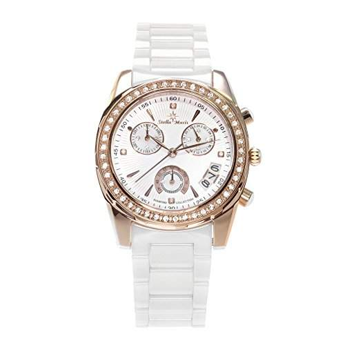 Stella Maris Damen-Armbanduhr Analog Quarz Premium Keramik Diamanten - STM15L5