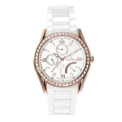 Stella Maris Damen-Armbanduhr Analog Quarz Premium Keramik Diamanten - STM15M5
