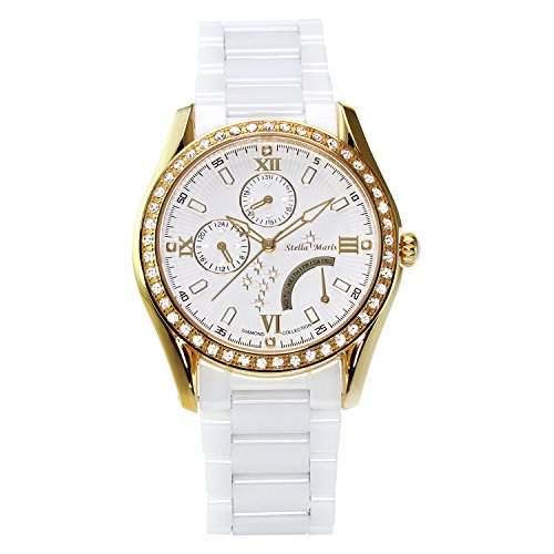 Stella Maris Damen-Armbanduhr Analog Quarz Premium Keramik Diamanten - STM15M7