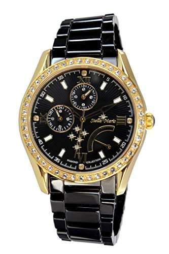 Stella Maris Damen-Armbanduhr Analog Quarz Premium Keramik Diamanten - STM15M8