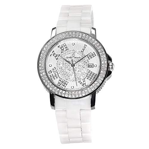 Stella Maris Damen-Armbanduhr Analog Quarz Premium Keramik Diamanten - STM15P1