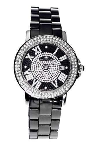 Stella Maris Damen-Armbanduhr Analog Quarz Premium Keramik Diamanten - STM15P2