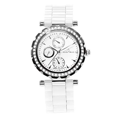 Stella Maris Damen-Armbanduhr Analog Quarz Premium Keramik Diamanten - STM15R3
