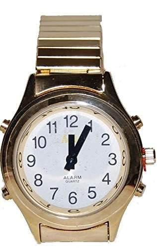 sprechende analoge Damen Armbanduhr Blindenuhr Zug-Armband Komplettdatum goldfarben 32mm DGM