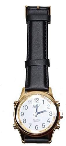 sprechende analoge unisex Armbanduhr Blindenuhr Leder-Armband Komplettdatum 38mm goldfarben HGL