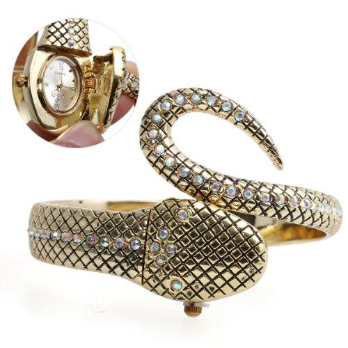 Strass Damen Armbanduhr Armbanduhren Armband Quarz Uhr Watch Schlange Goldfarbig