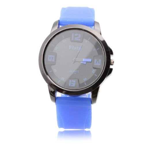 Silikon Armbanduhr Sportuhr Quarzuhr Quarz Uhr Blau Schwarz