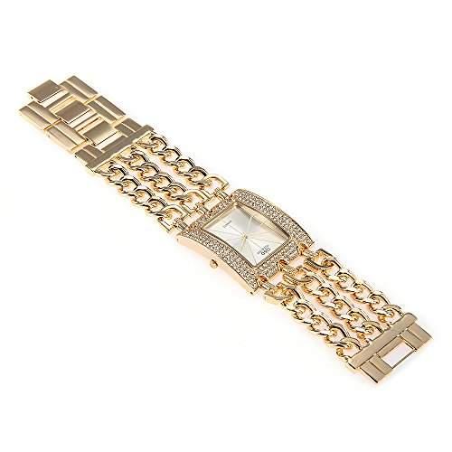 fitTek® Damen Armband Uhr Armbanduhren Quarzuhren Watch Legierung Goldfarbe mit Strass