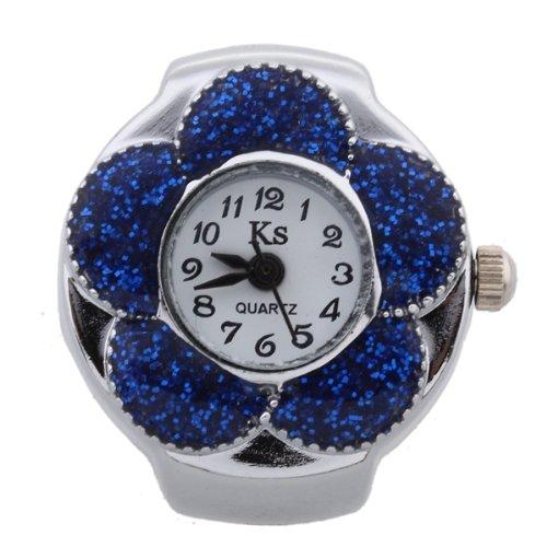 fitTek Damen Fingeruhr Fingerring Ring Uhr Modeschmuck Quarzuhr Blume Motiv Uhr