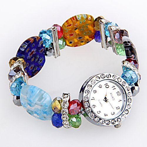 fitTek Kristall Glas Armbanduhr Armreif Armband Farbig Modeschmuck TOP Schmuck