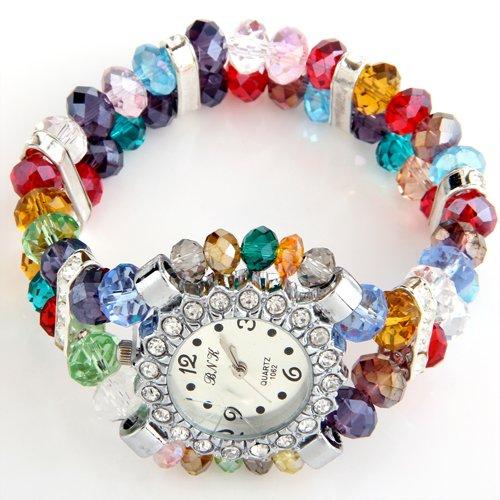 fitTek Strass Kristall Glas Armbanduhr Perlenarmband Quarzuhr TOP Schmuck