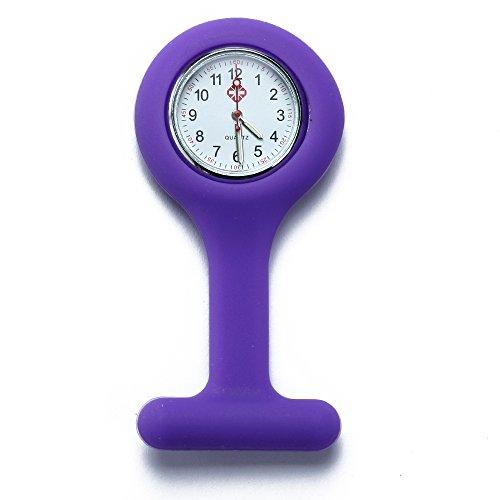 fitTek Schwesternuhr Krankenschwesteruhr Quarz Silikon Uhr Modisch Brandneu Violett