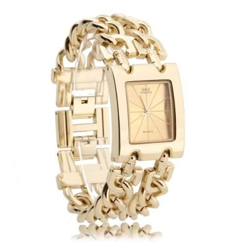 Damen Armband Uhr Damenuhr Armbanduhr Quarzuhren Legierung Goldfarbe mit Strass