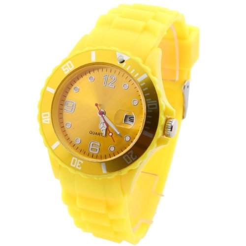 Mode Damen Quarzuhr Herren Armbanduhr Damenuhr Watch mit Kalender Unisex Gelb