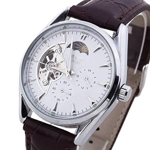 Armbanduhren Herrenuhr Mechanisch Uhr Skelettuhr Automatikuhr PU Leder Gefragt