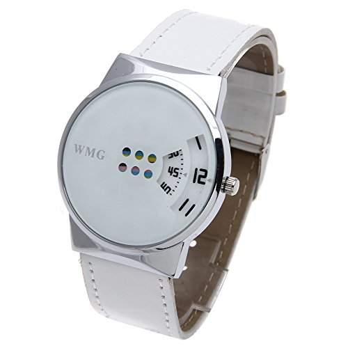 Damen Herren Quarzuhr Armband Uhr Watch Analog PU-Leder Mode Weiss Schwarz