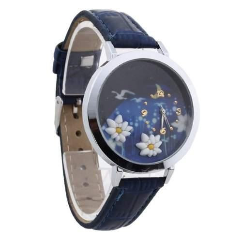 Damen Quarzuhr Quarz Uhr Armbanduhr Damenuhr Watch PU Lotus Motiv Blau TREND