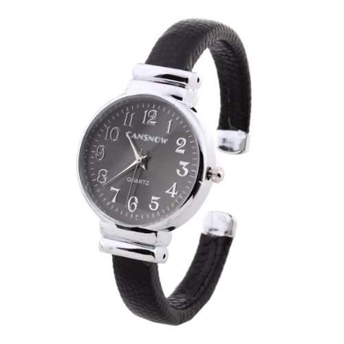 Modern Damen Quarzuhr Quarz Uhr Armbanduhr Damenuhr Watch PU Legierung Schwarz