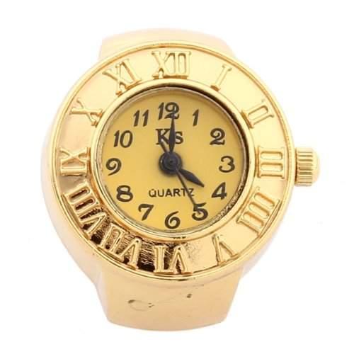 fitTek® Damen Ringuhr Fingeruhr Uhrenring Uhr Ring Finger Uhren Quarzuhr Goldfarbe Trend