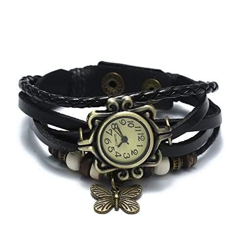 fitTek® Damen Armbanduhr Armband Quarzuhr Retro Mehrreihig Leder Legierung Schwarz