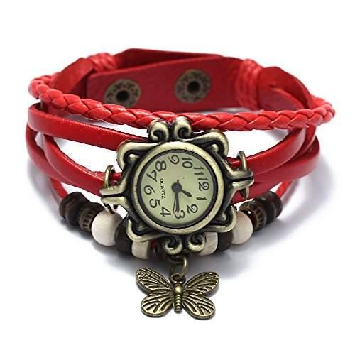 Damen Uhr Quarzuhren Armbanduhr Leder Wickel Armband Armkette Vintage Bead Rot