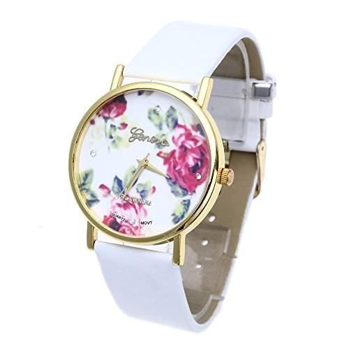 Modisch Damenuhr Armbanduhr Quarzuhr Armband Quarzuhren Leder Rose Motiv Weiss