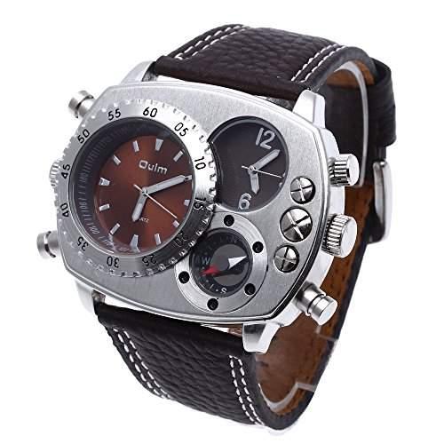 Militaerarmee Dual Zeitzone Quarzuhr Herrenuhr Armbanduhr Uhr Leder Sport Braun