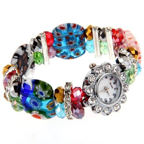 Kristall Glas Strass Armbanduhr Armreif Armband Modeschmuck TOP