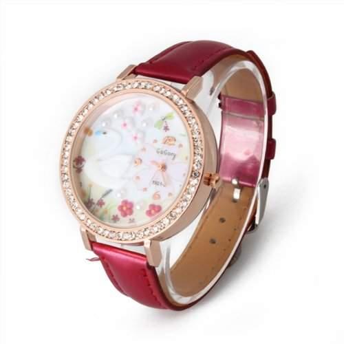PU Armband Quarzuhr Armbanduhren Armbanduhr Damenuhr mit Strass rot Modern