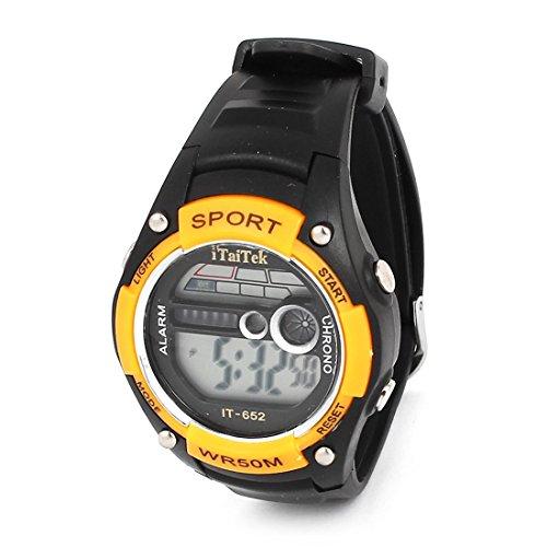 Frau Water Resistant Alarm Sport elektronische Uhr Orange Schwarz