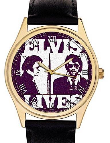 Elvis leben Cult warholesque Elvis Presley Police Mugshot Art Collectible 40 mm gold washed Pop Art Armbanduhr
