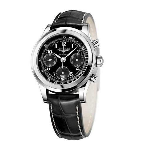 Longines Heritage 1942Herren Automatik Uhr mit schwarzem Zifferblatt Chronograph-Anzeige und schwarzes Lederband L27684532
