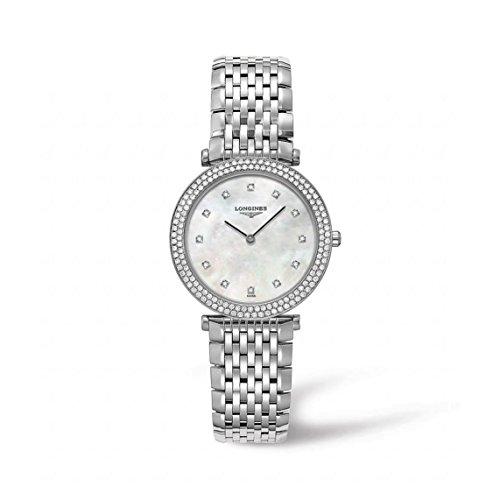 Longines Damen Armbanduhr Armband Edelstahl Gehaeuse Quarz Zifferblatt Perlmutt Analog L45150876
