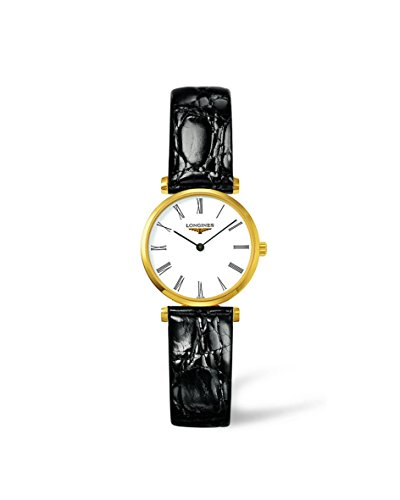 Longines Damen Armbanduhr Armband Leder Schwarz Gehaeuse Goldfarbenes Edelstahl Schweizer Quarz L42092112
